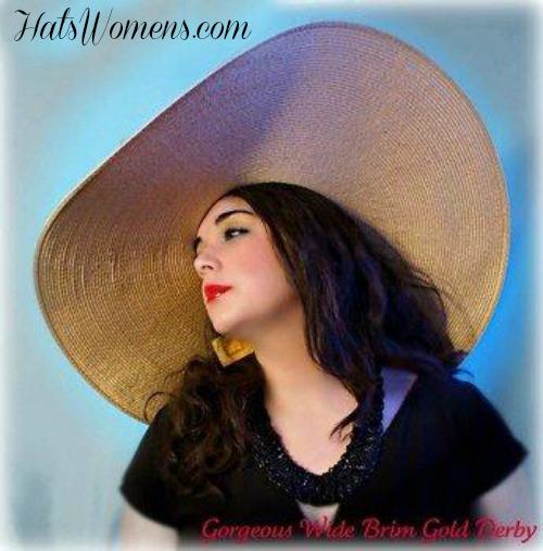 ce1132269e9 Antique Gold Wide Brim Kentucky Derby Designer Hat