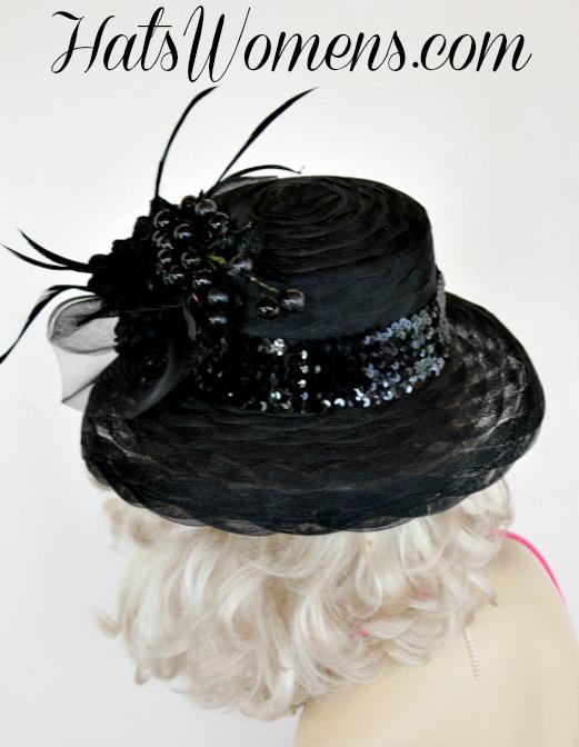 8ffd686f94c Ladies Black Kentucky Derby Dress Hat Special Occasion Women s Hats ...
