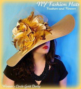 4d2896c5752 Hats With Gold Brown Feathers And Mustard Yellow And Ivory Flowers