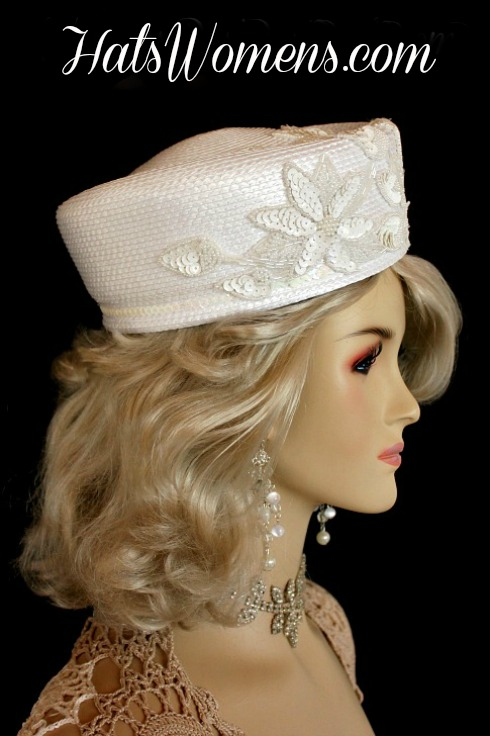 White Designer Pillbox Wedding Fashion Bridal Hat Women S Hats