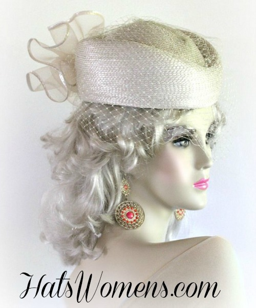 de422a53b6b07 Beige Designer Pillbox Wedding Special Occasion Hat