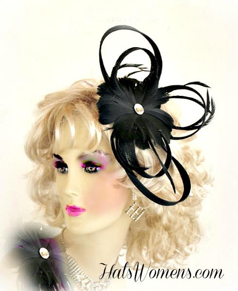 Wedding Headpiece Bridal Black Hair Accessories Ivory Fascinator