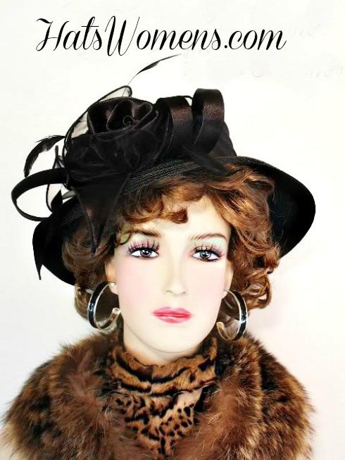 Designer Church Hat Black Ivory Satin Straw Braid Wedding Hats 843