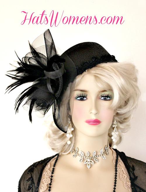 779ca0ce8 Ladies Women's Black 1940's Vintage Era Cocktail Hat, Wedding Hats