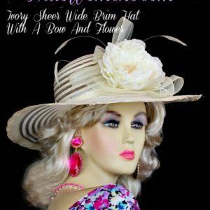 Ladies Ivory Wide Brim Designer Wedding Fashion Derby Hat 8047de77f32