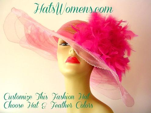 Pink Fashion Hats For Women Custom Easter Church