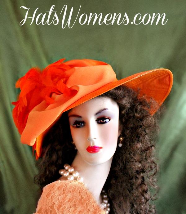 Ladies Orange Straw Braid Designer Dress Hat 5c8cabd0281d