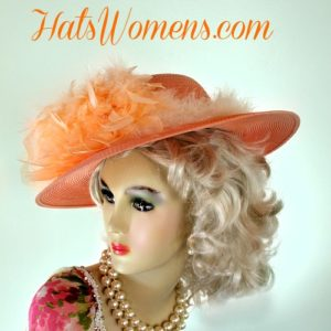 Ladies Peach Light Orange Kentucky Derby Racing Hat a5971142557