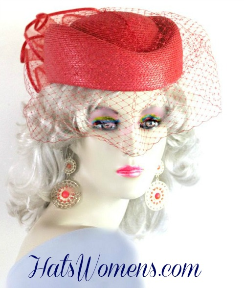 Red Pillbox Hats For Women Las Wedding Holiday