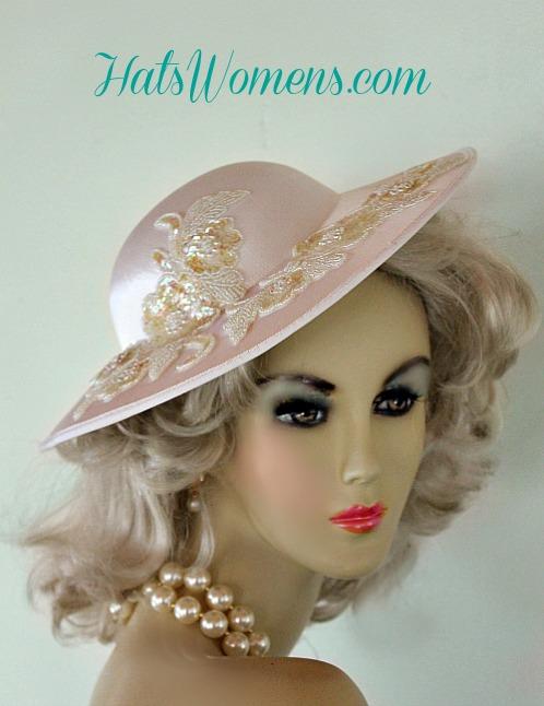 67891971e17 White Satin Bridal Wide Brim Wedding Designer Hat