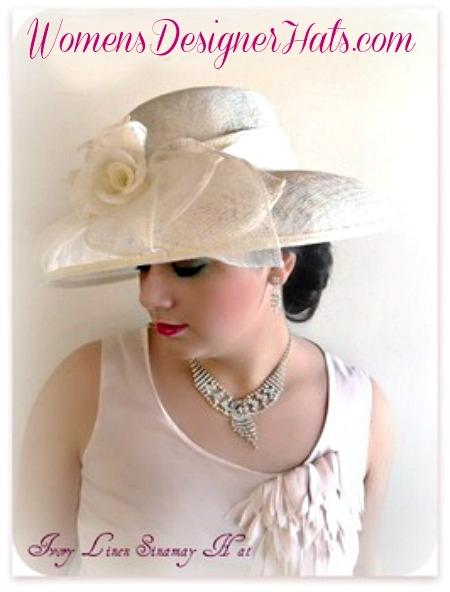 ca338722a2cf5 Ivory Sinamay Straw Wide Brim Wedding Hat Women s Designer Dress ...