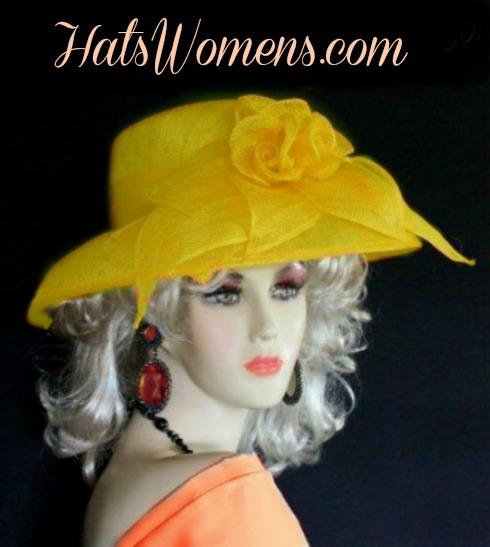 Orange Sinamay Straw Wide Brim Wedding Hat Women s Designer Dress ... 53efd8c2331d