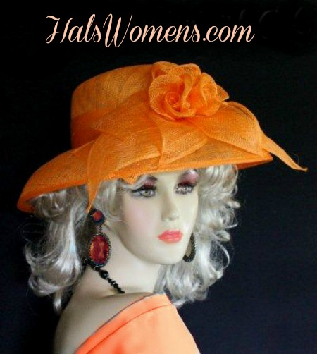 898025d1a03d5 Orange Sinamay Straw Wide Brim Wedding Hat Women s Designer Dress ...