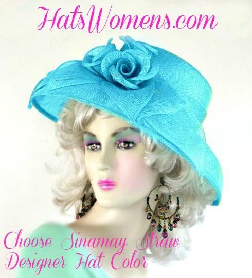 Sea Foam Lime Green Sinamay Straw Wide Brim Hat Women s Designer ... 47f04c396db