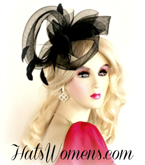 Black Crinoline Bow Satin Hairband Headband Wedding Hat Cocktail ... 4847f831f42