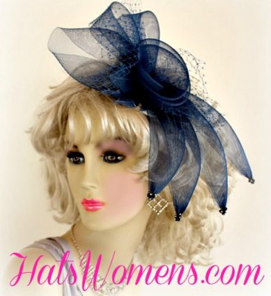 Ladies Nay Blue Crinoline Cocktail Hat For Wedding Guests, Black Headpiece Womans, Ivory Church Cocktail Hat Fascinator