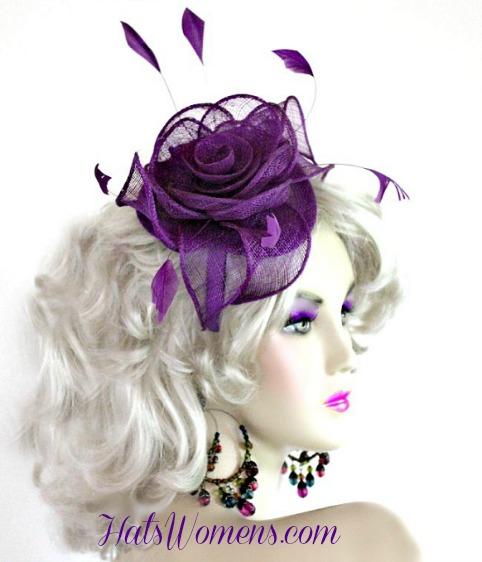 722709093846 Purple Sinamay Straw Satin Hairband Headband Wedding Cocktail Hat NY
