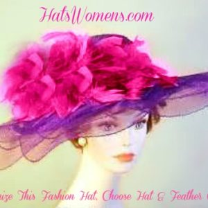 ca6146ac9c8e0 Womans Purple Grey Custom Feathers Designer Hat Hats Match Your ...