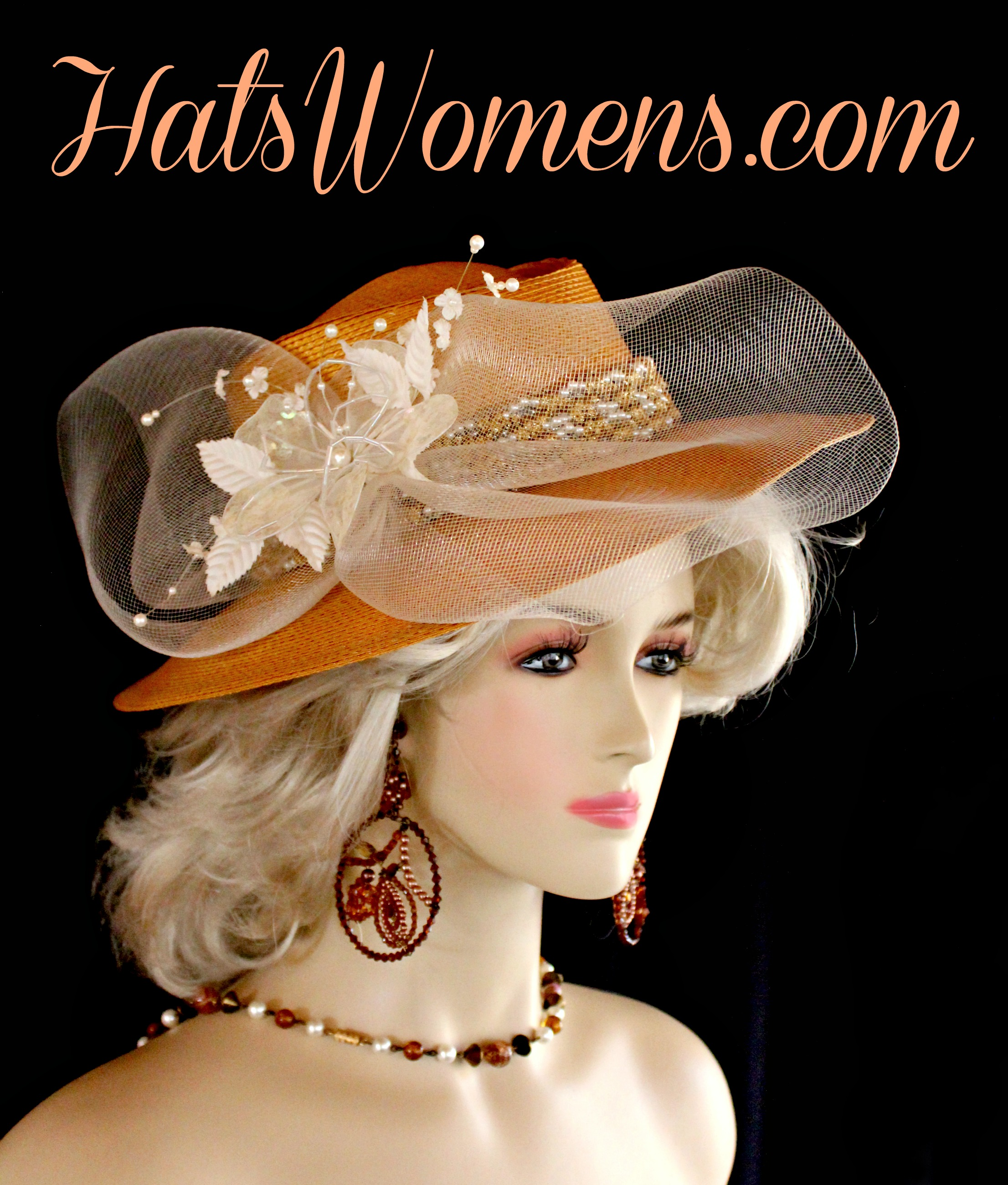 d370533d9 Ladies Antique Metallic Gold White Ivory Western Hat, Fashion Designer Hats
