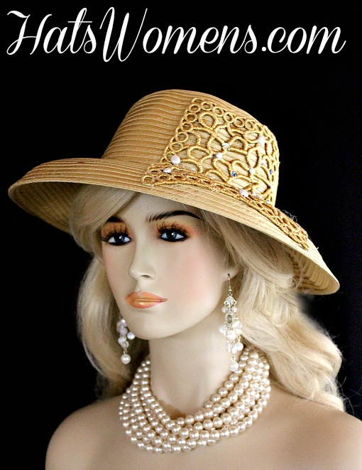 Ladies Antique Gold Satin Formal Church Hat With Rhinestones And White  Pearls 94cefe9128bd