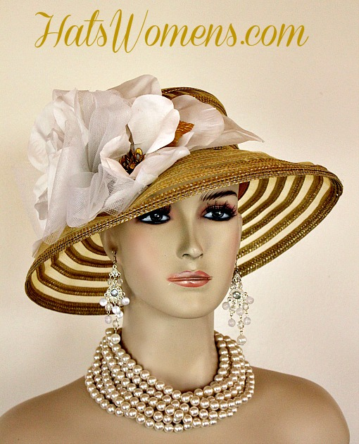 4fcef9aaa8a Metallic Gold White Sheer Brim Church Wedding Special Occasion Hat ...