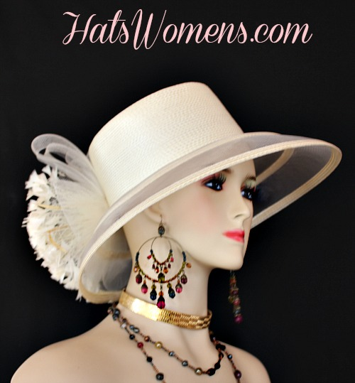 62c737e6803 Ivory Formal Lampshade Wide Brim Special Occasion Wedding Hat