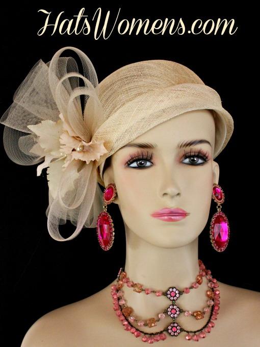 04017eed53e8e Beige Sinamay Straw Cloche Flapper Wedding Bridal Cocktail Pillbox ...