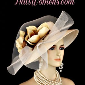 Ivory Beige Formal Lampshade Wide Brim Special Occasion Wedding Hat With  Flowers 8ba83254618