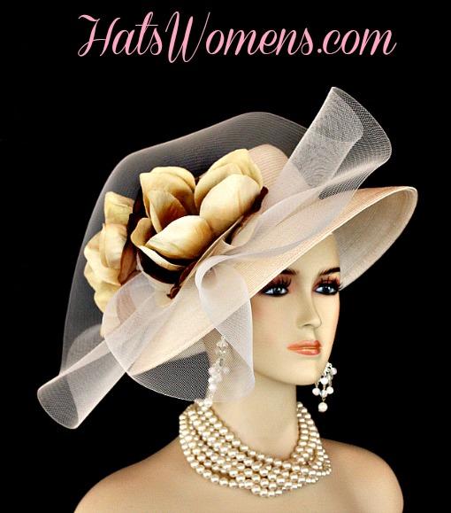 Ivory Beige Formal Lampshade Wide Brim Special Occasion Wedding Hat ... 334dfa111231