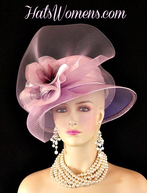 64c9b21f7a9bd Lilac Lavender Purple Satin Formal Church Wedding Bridal Hat Flowers ...