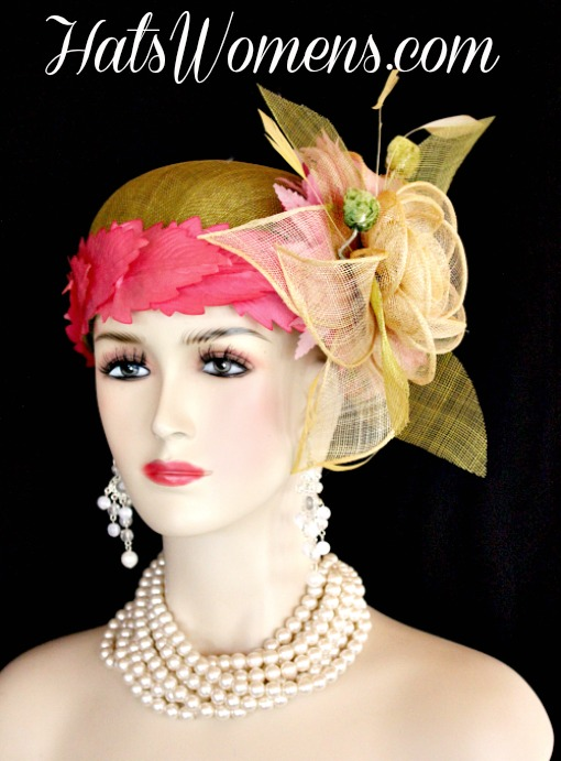189db33e0be9a Olive Lime Green Ivory Sinamay Straw Cloche Flapper Wedding Bridal ...