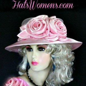 cefa4b95c52ef Woman s Champagne Beige Wide Brim Satin Bridal Designer Wedding Hat ...