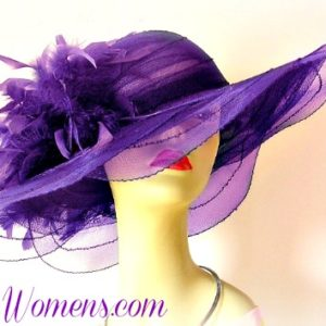 fd7760310ac Purple Wide Sheer Brim Formal Designer Fashion Hat With Feathers ...