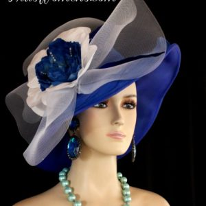 Royal Blue White Wide Brim Designer Formal Special Occasion Wedding ... 7f638ce87fb