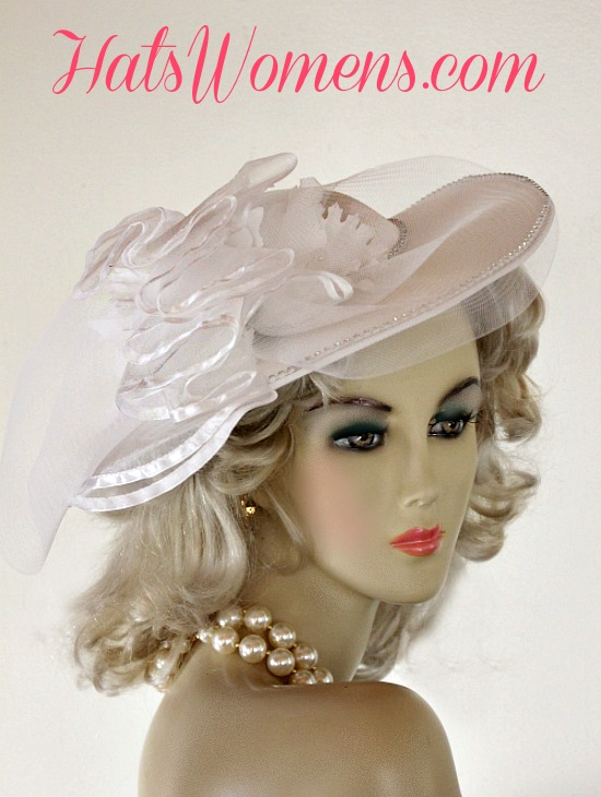 Ladies White Satin Bridal Vintage Style Wedding Designer Hat Orchids ... ac37fa841428