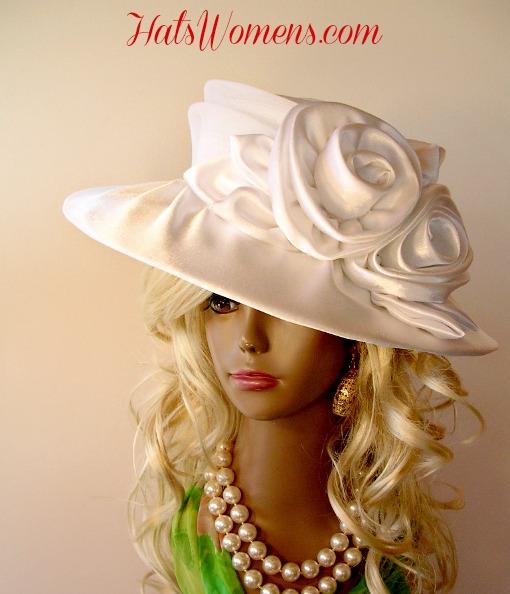 a9b477543b286 Ladies White Satin Rosette Wide Brim Bridal Wedding Church Hat ...