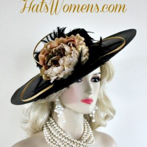 fdb48254e0691 Ladies Black Gold Wide Brim Designer Fashion Feather Hat Beige Brown ...