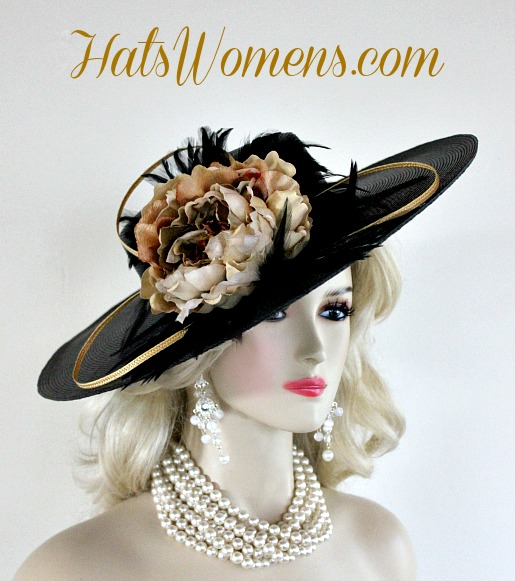 Black Brown Beige Green Ivory Gold Designer Hats Melbourne Cup Kentucky Derby