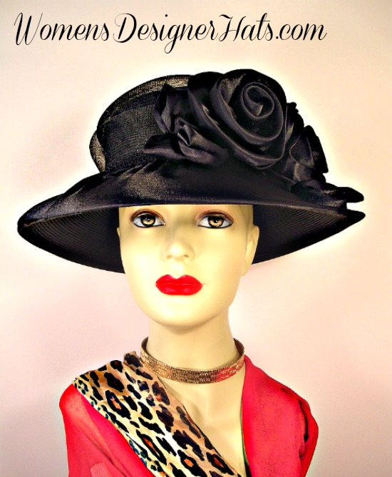 Woman s Black Wide Brim Satin Bridal Designer Wedding Funeral Hat ... 18d00e04346