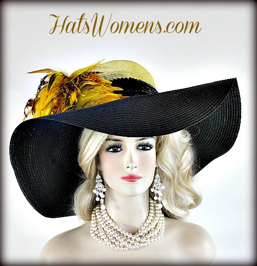 Ladies Black Yellow Straw Wide Brim Couture Kentucky Derby Hat ... 9bc1ab8d447
