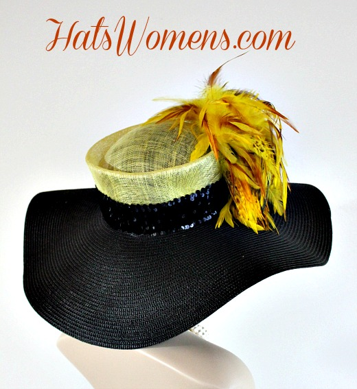 Black yellow straw wide brim hat with feathers ladies derby hats melbourne  cup hats jpg 520x567 15e5284dcd97