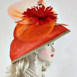 Ladies Coral Orange Metallic Gold Straw Lampshade Wide Brim Kentucky Derby  Hat ba0f54d49703
