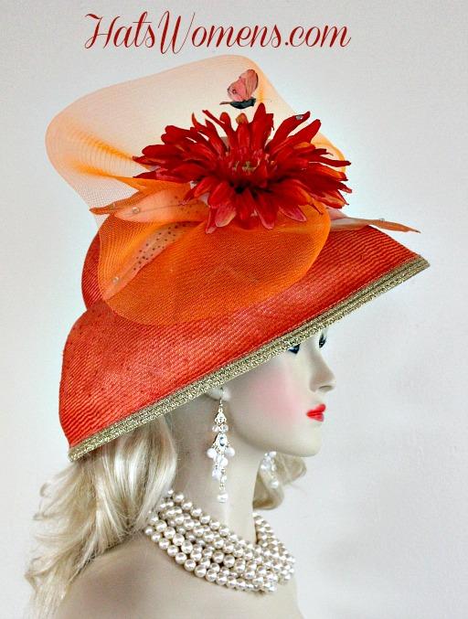 61272625 Ladies Coral Orange Metallic Gold Straw Lampshade Wide Brim Kentucky Derby  Hat, Church Bridal Wedding Formal Hats