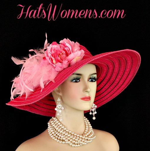 24836e253a Ladies Hot Pink Wide Brim Church Wedding Designer Fashion Hat ...