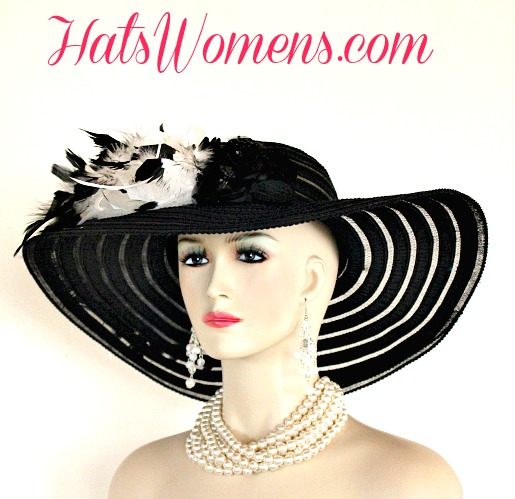 fa7ee047d78d Women's Formal Black Wide Brim Hats, Black Designer Hats, Black White  Fashion Couture Hats