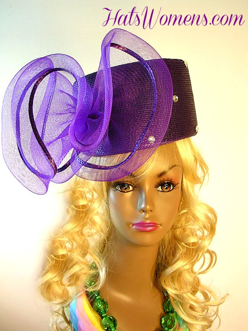 Ladies Purple Designer Pillbox Hat Large Bow d75f57965d8f