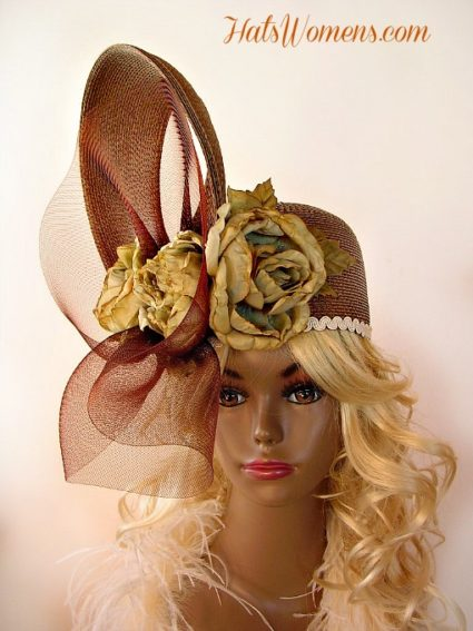 Taupe Beige Brown Tan Couture Fashion Designer Pillbox Hat Church ... f04e6c866fe3