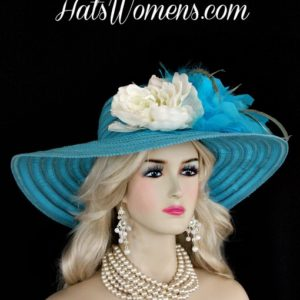 Ladies Turquoise Blue Wide Brim Church Wedding Designer Fashion Hat  Feathers Ivory Flower 44bfd34be83
