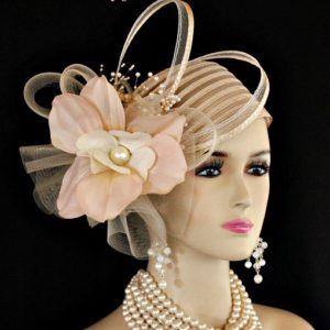 Ladies Beige Pillbox Couture Fashion Designer Flapper Cloche Hat Wedding  Church Dress Hats 4f8707ef179