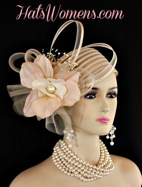 db2c2afc61d2e Ladies Beige Couture Cocktail Pillbox Hat